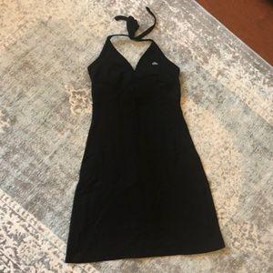 Black Lacoste halter top dress, size 36.